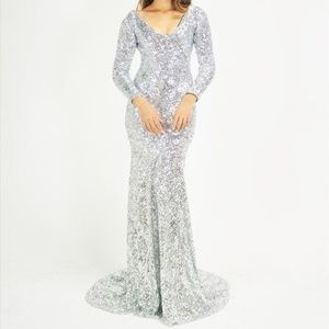 Dresses & Skirts - Crushed Silver Sequin Long Sleeve Mermaid Dress